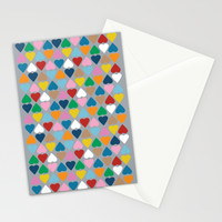 Diamond Hearts on Grey Stationery Cards by Project M