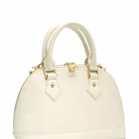 Round Faux Leather Handbag