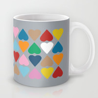 Diamond Hearts on Grey Mug by Project M