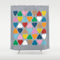Diamond Hearts on Grey Shower Curtain by Project M