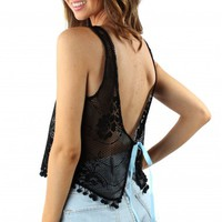 Black Lace Ribbon Back Top