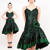 80s Black Metallic Green Sequin Floral Lace Dropped Waist Full Skirt Rosette Party Cocktail Dress Small S