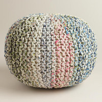 White Knitted Sari Pouf