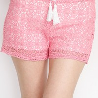 Pink Laced Crochet Shorts
