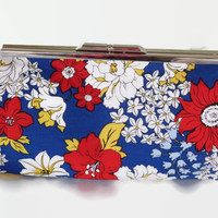 Red White Floral Print Clutch