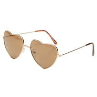 Metal Heart-Shaped Sunglasses | Wet Seal