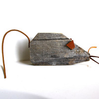 Mouse home decor reclaimed wooden animal with leather ears whiskers and tail for nursery, home or office.