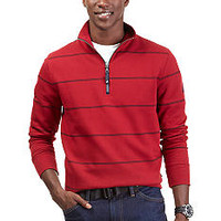 Nautica 1/4 Zip Striped Mock Neck Fleece
