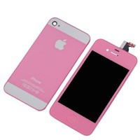 LCD And Touch Screen Replacement + iPhone 5 Style Back Glass Door + Opening Tools Kit for iPhone 4 CDMA Verizon/Sprint (Pink)