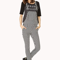 Railroad Striped Denim Overalls