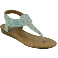 City Classified-Lorri-h, Mint Jeweled T-strap Wedge Sandal