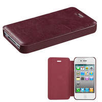 Book-Style Embossed Leather Flip Cover for iPhone 4 / 4S - Dark Brown