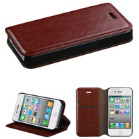 Book-Style Leather Flip-Stand Wallet Case for iPhone 4 / 4S - Brown