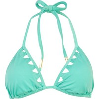 Mint green triangle cut out bikini top - vacation shop - sale - women