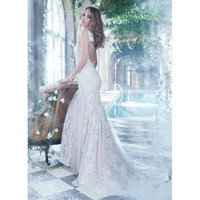 Shimmering Sweep Mermaid V-neckline Lace Backless Wedding Dress
