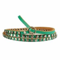 ZLYC Woman's Handmade Rivet Leather Blet/Bracelet Green