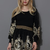 Baroque Golden Embroidery Sleeves Top