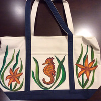 Zippered Tote Bag Hand Painted with Seahorse and Sea Flowers