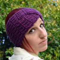 Crochet turban in deep violet, hairband, headband, headwrap, ear warmer