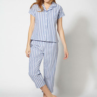 Hamptons Cropped Pyjamas - Blue Mix | Boux Avenue