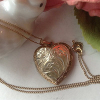 "12K Heart Locket Necklace 18"" Silver Gold Filled GF Mother's Day Bridal Wedding Vintage gift etched photos heirloom chain pendant romantic"