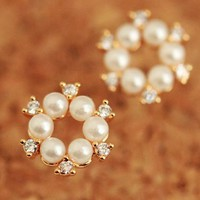 Pearl And Rhinestone Wreath Earrings