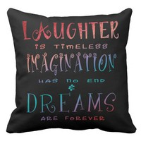 Laughter, Imagination and Dreams - Black Grade A Cotton Throw Pillow