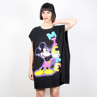 Vintage Mickey Mouse T Shirt Mickey Mouse Dress Black Neon 1980s 80s Deep Arm Holes Disney Tshirt Mod New Wave Cartoon Mini Dress L XL OS