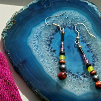 Earthwear Gemstone Earrings ~ Prosperity: Red Tiger's eye, Lemon Jade & Upcycle Accents ~ Natural Healing Jewelry