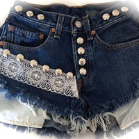 LACE High waist destroyed denim shorts super frayed size Sm/Med/Lg