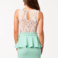 LACE DETAIL PEPLUM DRESS