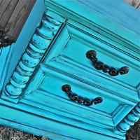 Turquoise Night Stand/ Retro End Table /Accent TV Cabinet/ Living Room Storage/ Bedroom Side Table