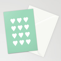 16 Hearts Mint Stationery Cards by Project M