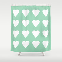 16 Hearts Mint Shower Curtain by Project M