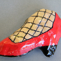 WHIMSICAL SHOE MAGNET Upcycled paper mache by galleryingreen