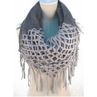 Hotportgift Winter Warm Knitting Scarf Infinity Tassels Scarf for Woman Multicolors (grey)