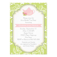 Tea party teapot, lace pink, green bridal shower