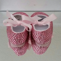 Beautiful Rhinestone Baby Girl Crib Shoes/Soft Soles