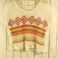 Hand Knit Bohemian Crochet Crop Top - Chic+ - Retro, Indie and Unique Fashion