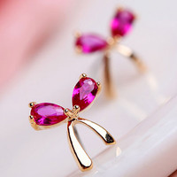 Ruby And Gold Bow Earrings