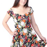 Floral Cap Sleeve Fit & Flare Skater Dress