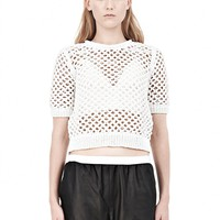 White Open Knit Short Sleeve Pullover - Alexander Wang