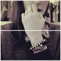 Spring Trends: Arm candy set - Gold Spikes beads and Black stones Bracelets