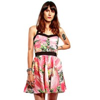 """Vacation"" Hawaiian Print Dress by Lucky 13 Apparel (Pink)"