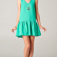DROP WAIST RUFFLED HEM DRESS - IVY GREEN