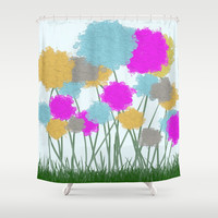 Splat Painted Flower Scene Shower Curtain by One Artsy Momma