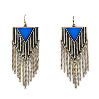 Ridged Fringe Earrings - Blue