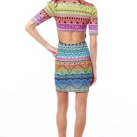 Multicolor Short Sleeve Bodycon Mini Dress w/ Aztec Print #bodycon #dress #brocade #print #clubdress #partydress #rainbow #aztec #tribal
