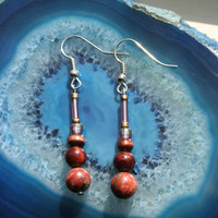 Earthwear: Gemstone Earrings ~ Red Jasper and Red Tigerseye ~ Natural Stone, Glass, & Wood, Healing Beads