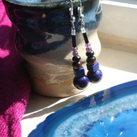 Earthwear Natural Earrings ~ Violet Fossil & Midnight Turquoise ~ Gemstone Healing Jewelry